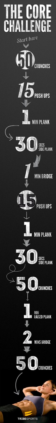 Good core workout! http://tribesports.com/blog/weekly-challenge-core-workout
