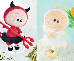 PATTERN  - Bonnie With Devil Costume and Angel Costume (two patterns together) by HavvaDesigns