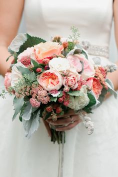 Pink Ranunculus & Berry Bridal Bouquet