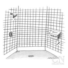 """There is an """"idea"""" box in the shower. - New Yorker Cartoon Poster Print by Mick Stevens at the Condé Nast Collection"""