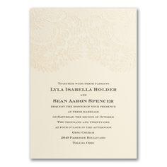 Sparkly Lace - ivory Invitation Wedding invitation that is semi-customizable Embossed Wedding Invitations, Lace Invitations, Unique Invitations, Personalized Invitations, Floral Invitation, Custom Wedding Invitations, Invitation Design, Wedding Stationery, Home Wedding