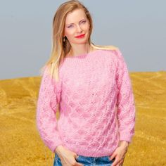 SUMMER PINK Hand Knitted Mohair Sweater Fuzzy Light Handmade Jersey  SUPERTANYA #SuperTanya #Crewneck