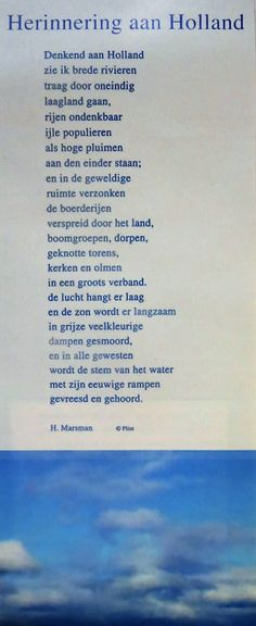 poetry Denkend aan Holland/ Thinking of Holland from Marsman