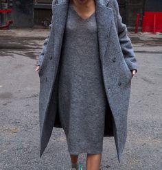 all grey knit dress + wool coat