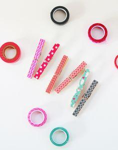 DIY    Washi Tape Pegs by www.highwallsblog.com