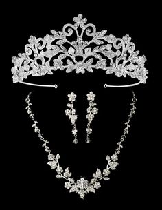 Silver Plated Crystal Rochelle Enchantment Wedding Tiara with Jewelry Set - sale! - Affordable Elegance Bridal - - Silver Plated Crystal Rochelle Wedding Tiara with Jewelry Set in silver plating. Bridesmaid Jewelry Sets, Wedding Jewelry Sets, Bridesmaid Gifts, Bridal Crown, Bridal Tiara, Wedding Tiara Veil, Wedding Tiaras, Wedding Hairstyle, Tiffany Jewelry