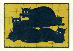Cinq chats noirs. Tagashige Nishida.