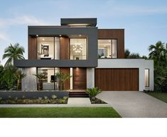 Contemporary display home located in Newport, Australia, designed by Metricon. Modern House Facades, Modern Architecture House, Modern House Plans, Sustainable Architecture, Modern Houses, Villa Design, Facade Design, Exterior Design, Modern Exterior