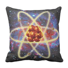 Spacey Atomic Throw Pillow. A Spacey Atomic design for the scientific set. Whether you're decorating your home office or adding a chill corner to your lab space this Spacey Atomic Pillow will set the tone nicely. Comfortable with a riveting design. Over 3000 products at my Zazzle online store. Open 24/7  World wide! Custom one-of-a-kind items shipped to your door. This art is exclusively @  http://www.zazzle.com/greg_lloyd_arts*?rf=238198296477835081