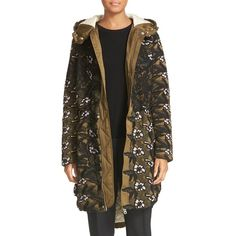 Women's Self-Portrait Hooded Lace Parka ($1,165) ❤ liked on Polyvore featuring outerwear, coats, multi, cold weather parka, oversized hooded coat, hooded parka, quilted coat and cold weather coats