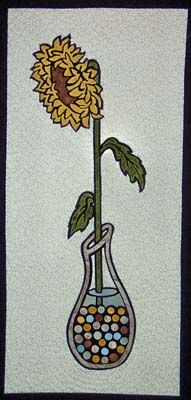 "Quilted wall hanging pattern - Sunflower in Marbles - 14"" x 30"" - $10"
