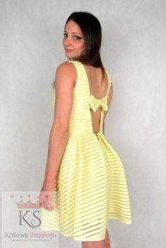 Letnie sukienki z kokardką żółta fashion4u.pl