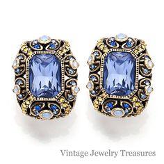 """Heidi Daus """"Irresistible Impressions"""" Tanzanite Crystal Pierced Earrings New HSN #HeidiDaus"""
