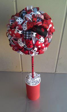 ladybug themed baby shower ribbon topiary in ladybug themered white u0026 black by twylavega