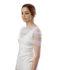SALE ALERT! White sheer slip-on cover-up by SIMONE MARULLI @secretsales #salealert #weddings #bride #white #veil #ivory