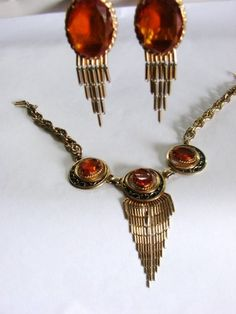 RARE Deco Bold Signed Elsa Schiaparelli Necklace and Earrings Set Topaz Enameled | eBay