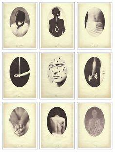 series by Dan Estabrook, Nine Symptoms, , 2004. salt print, with watercolor and ink (nine symptoms of falling in love)  1-Shortness of Breath 2- Loss Of Appetite 3-Heart Rate Increase 4-  Weakness 5-Fever  6- Chills 7-Sleeplessness 8-Delirium 9-Euphoria