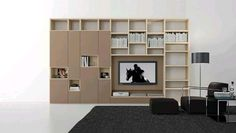 Comp. 308 Wall Unit by Presotto, Italy has lacquered structure and 20 mm thick ONE doors in matt marrone glace and matt marrone daino lacquer. Manufactured By Presotto.