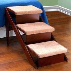How To Build A Dog Ramp For My Bed-Want to make a DIY ramp for your old or mobile-impaired dog? … and is intended to help a dog get up onto a higher surface like a bed or couch Dog Stairs For Bed, Dog Ramp For Bed, Ramp Stairs, Pet Ramp, Custom Dog Beds, High Beds, Dog Steps, Beds For Sale, Diy Bed