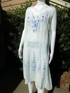 90f879f6f1ab Details about True Vtg Antique 1920s FRENCH Embroidery Smock Dress Blue  Gauzy Cotton MED LARGE