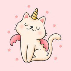 Unicorn cat cartoon hand drawn style | Premium Vector #Freepik #vector #star #hand #girl #cartoon Kawaii Drawings, Cute Drawings, Doodles Bonitos, Unicorn Cat, Unicorn Drawing, Cute Cartoon, Girl Cartoon, Kawaii Cute, Cute Art