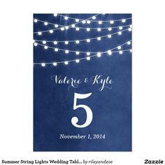 Summer String Lights Wedding Table Numbers 5x7 Paper Invitation Card
