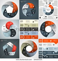 Vector infographics set. Template for diagram, graph, presentation and chart. Business concept with five options, parts, steps or processes. Abstract background.