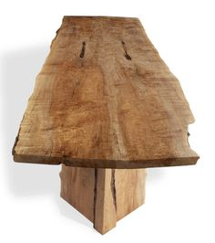 """Book-matched quilted maple with two natural live edges -dining, conference table or desk - 34"""" x 100"""" Base: Wood is matching quilted maple with metal cross bar solid twisted rod and mounting plates are accented with hand distressed hammering and hand painted rustic finish"""