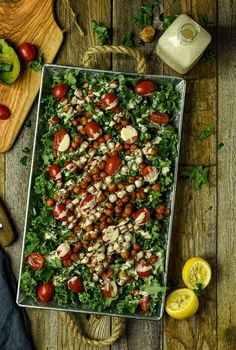 This Vegan Chipotle Chickpea Kale Salad with tahini dressing is healthy, hearty, spicy, and so easy to make. Perfect as a side or by itself as a meal. Kale Salad Recipes, Kale Salads, Vegan Chipotle, Lemon Tahini Dressing, Vegan Main Dishes, Vegetarian Entrees, Plant Based Eating, How To Make Salad, Delicious Vegan Recipes