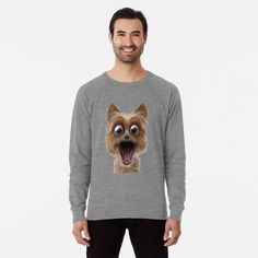 surprised dog face by Shark-Plaza | Redbubble Surprised Dog, Shark, Graphic Sweatshirt, Pullover, Sweatshirts, Face, Dogs, Sweaters, Fashion