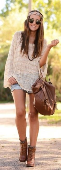 lose sweaters and shorts...carolina weather  how to have boho style! my style is boho chic #1 store i shop at has to be urban outfitters! i love free people also, #1 if you want to go boho you have to wear a lot of light browns muddy yellows to make it look vintage, #2 LAYER LAYER LAYER wear a lot of vintage necklaces and more #3 be yourself!