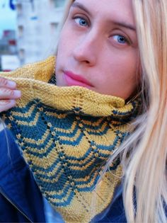 5466eb68d62463 Knit One Crochet Too Tangier Chevron Cowl Knitting Kit Snood Knitting  Pattern