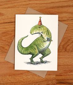 Birthday T Rex Colored Envelopes Super Dad Fathers Day Cards