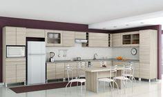 Cozinha Modulada Completa com Mesa e 6 Cadeiras Versatti Nacre - Kappesberg