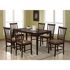Set includes: Table, four (4) chairsMaterials: MDF, rubber wood, CAFR foam, fabricBrown finish
