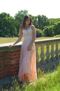 Vintage 70s Peach Gunne Sax Prairie Dress by LotusvintageNY,