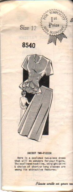 """Vintage Sewing Pattern 50s Two-Piece SUIT Dress with PEPLUM and SCALLOPED Neckline - size 10 - bust 30"""" (76 cm) - Sue Burnett 8540. $14.99, via Etsy."""
