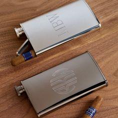 Stainless Steel Flask and Cigar Holder | #exclusivelyweddings | #groomsmengifts