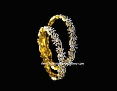 Semi Floral Design Diamond Bangles