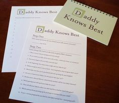 "Cute baby shower game ""Father Knows Best""."