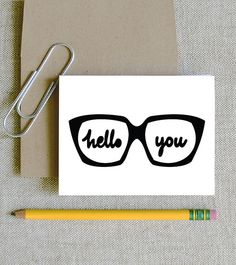 hello you glasses geek chic glasses card social by feb10design