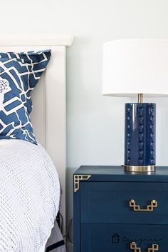 LOVE this navy and white master bedroom!