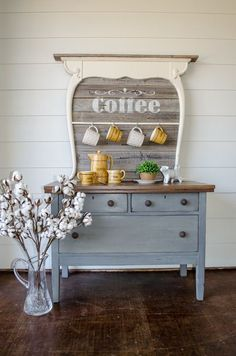 DIY vintage wash stand makeover, re-purposed coffee bar, Farmhouse style. this … DIY vintage wash stand makeover, re-purposed coffee bar, Farmhouse style. this is the CUTEST coffee bar I've ever seen 😍 Repurposed Furniture, Rustic Furniture, Painted Furniture, Home Furniture, Furniture Ideas, Antique Furniture, Garden Furniture, Diy Furniture Repurpose, Bedroom Furniture