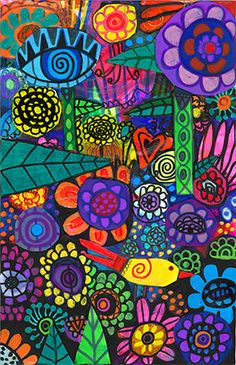 New original. Chaotic Garden mixed media by by HeatherGallerArt