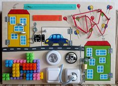 """Busy Board """"mini car/houses"""", Activity Board, Sensory Board, Montessori educational Toy, Fine motor skills board for toddlers & babies"""