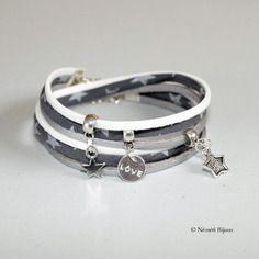 Bracelet tissu motif étoiles - gris argenté blanc - intemporel
