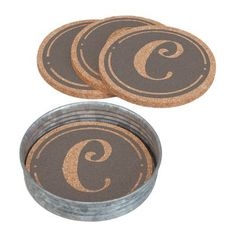 Occasionally Made Monogram Cork Coaster with Holder Letter: