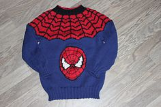 Crochet Toys For Boys For the boys! A Spiderman sweater in DK weight. - The pattern is in both english and norwegian. Knitting Patterns Boys, Baby Sweater Knitting Pattern, Knitting For Kids, Baby Patterns, Spiderman, Baby Sweaters, Sweaters For Women, Knit Crochet, Crochet Toys