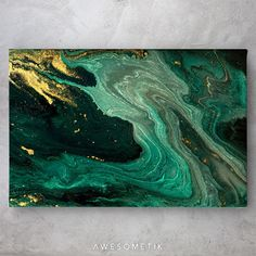 Greenish Gold Blended Marble - 1 Piece / 36in x 24in / canvas