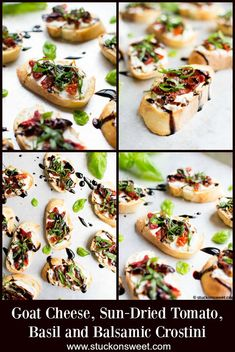 Goat Cheese and Sun Dried Tomato Crostini is a quick and easy appetizer. Quick And Easy Appetizers, Best Appetizers, Appetizer Recipes, Pizza Rolls, Dried Tomatoes, Sun Dried, Original Recipe, Goat Cheese, Clean Eating Snacks